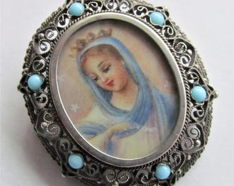 Antique Virgin Mary Brooch Hand Painted 800 Silver With Turquoise Beads Religious Pendant