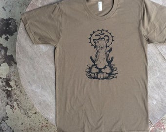 Meditating Fox / Om Fox / Buddist Tee / American Apparel Unisex Tee in Army Green