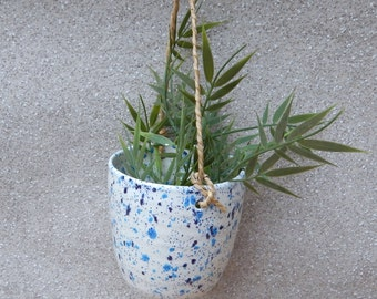 Hanging herb planter hand thrown pottery ceramic handmade plant pot wheelthrown