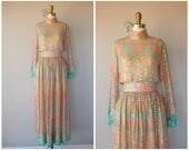 Vintage 1970s Maxi Dress   70s Maxi Gown   1970s Bohemian Formal Dress   70s Sequined Silk Chiffon Maxi Dress (x-small)