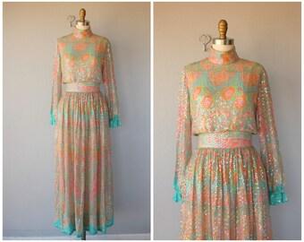 Vintage 1970s Maxi Dress | 70s Maxi Gown | 1970s Bohemian Formal Dress | 70s Sequined Silk Chiffon Maxi Dress (x-small)