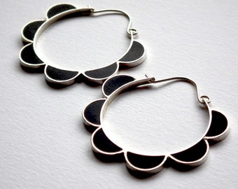Sterling Silver Floral Black Hoops