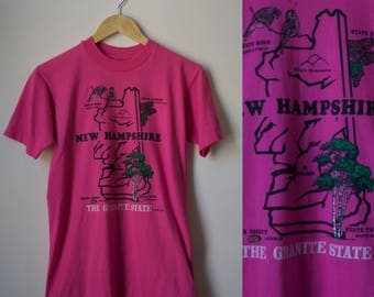 Vintage 80s Pink Short Sleeve New Hampshire Tee Size S