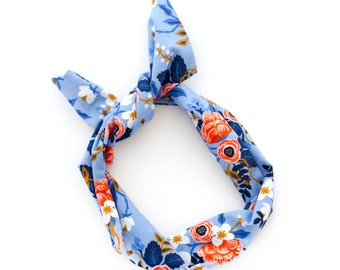 Blue Floral Rifle Paper Co Wire Headband - Vintage Inspired Fabric Scarf - Bandana Turban Wrap - Handmade by Mane Message on Etsy