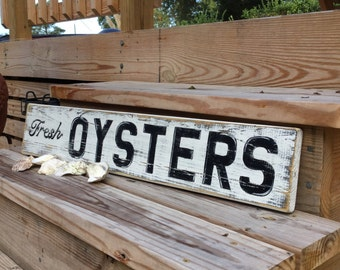 Beach Coastal Sign Large Fresh Oysters reclaimed wood