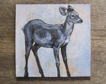 "modern rustic art: ""blue fawn,"" original ink & acrylic painting"