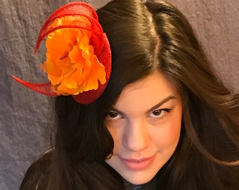On Fire/Blood Red Sinamay Fascinator with Flame Orange Flower/ Orange Floral Hat/Red Fascinataor/Orange Fascinator/Handmade Red Hat/OOAK