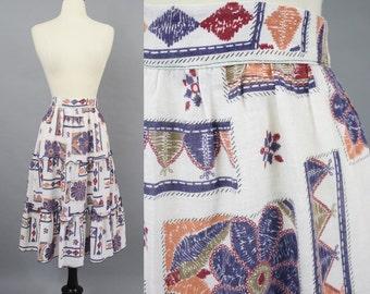 vintage 70s Boho Hippie Tiered Skirt / 1970s Geometric Print Folk Prairie Skirt / Medium