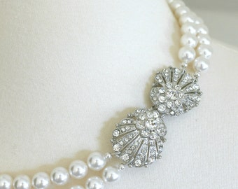 The Great Gatsby Necklace - Vintage-Inspired Pearl and Rhinestone Seashell Fan Bridal Necklace