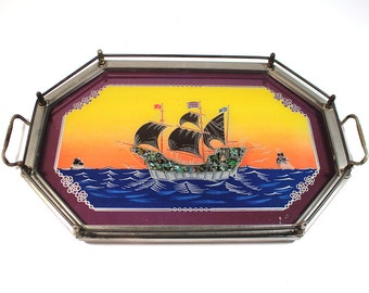 Vintage Silver Serving Tray with Reverse Glass Ship Painting and Abalone Shell Inlay
