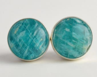 amazonite 8mm sterling silver stud earrings