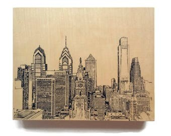 Wood Wall Art of Philadelphia Skyline Cityscape Art on Wood Customize Your Colors And Size Philadelphia Cityscape Skyline On Wood Panel