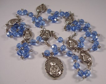 Blue Faceted Crystal Glass Bead Seven Sorrows (Dolors) of Mary Rosary