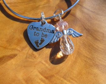 GRANDMA to BE - Personalize with Girl or Boy Angel - Great Gift for New Grandma to Be