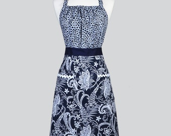 Cute Kitsch - Womens Retro Apron in Indigo Navy Blue Paisley and Polka Dot Full Coverage Vintage Style Chef Kitchen Woman Apron with Pockets