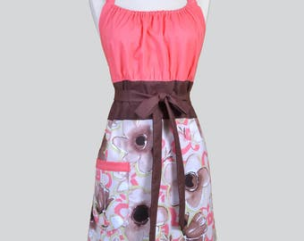 Cute Kitsch Womens Apron . Flamingo Pink Coral and Brown Floral Retro Vintage Inspired Kitchen Cooking Hostess Apron with Pockets