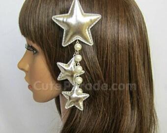 Silver Triple Star Hair Clip Brooch with White Pearls- Lolita Fairy Kei Decora Kawaii Shooting Star Hair Accessory