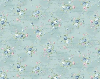 Ruru Bouquet Love Rose Love Cotton Fabric Rose ru2300-15c  Small  Roses on Blue with Script