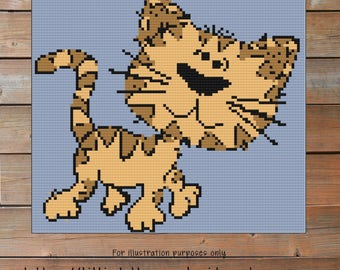 Cat Crochet pattern -  Graph Crochet  - Corner to Corner - C2C - pattern baby blanket - Cross Stitch - blanket patterns