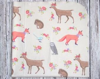 Ready to ship! Extra Large Cream Woodland Receiving Blanket, Girl Woodland Baby Blanket, Girls Woodland Blanket
