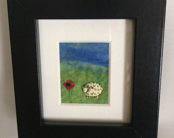 Miniature felted sheep picture