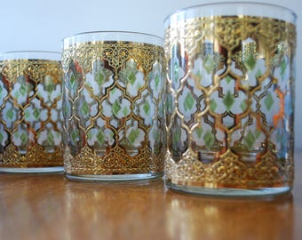 Vintage Culver old fashion glasses - set of  three - pattern Valencia -1960's - Madmen - Hollywood Regency