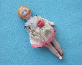 1920s Flapper Doll German Jointed Porcelain Glazed Blond Bobbed Hair Shaded Ribbon Work Rosebud Original Clothes Dollhouse