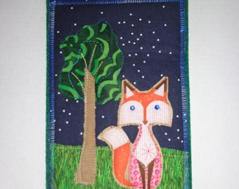 Fabric post card - Fox at spring time, art card, mail art