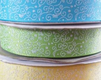 7/8 Easter Ribbon, Spring Ribbon, Filligree Ribbon, Green Ribbon, Yellow Ribbon, St. Patricks Day, Ribbon by the yard