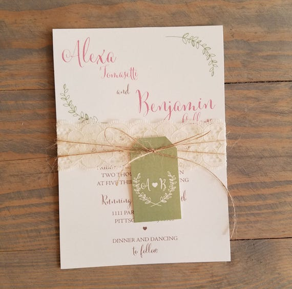 Laural Wedding Invitation with Lace, Twine and Tag Simple Rustic Wedding Invitations, Country Wedding Invite, Rustic Lace Wedding Invitation