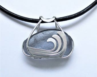 Sea Glass Jewelry - Sterling Caged Large Rare Dark Gray Wave Necklace