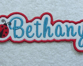 Name Patch with Ladybug Personalized Single Name Patch Fabric Embroidered Iron On Applique Patch MADE TO ORDER