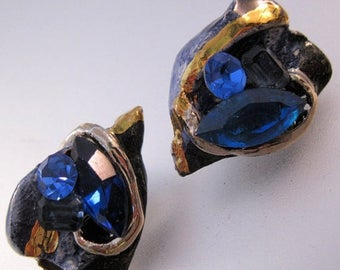 SALE Now On Ends 4/3/17 Vintage Blue Rhinestone & Ceramic Clip On Earrings Gold Hand Made Costume Jewelry Jewellery