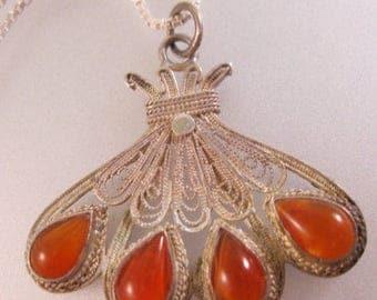 "SALE ON Ends 4/30 Vintage Carnelian Cannetille Sterling Silver Pendant Necklace 18"" Fine Jewelry Jewellery"
