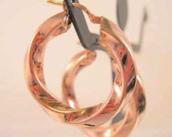 Italian Rose Gold Vermeil Sterling Silver Hollow Hoop Twist Earrings Pierced Vintage Estate Jewelry