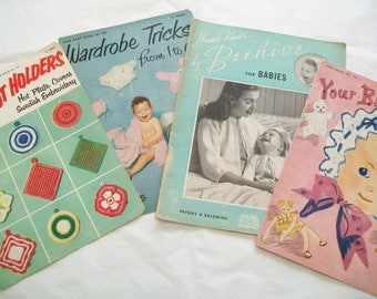 SALE - 4 Knit, Crochet Books, 1950s, 1945, Baby, Potholders, crafting
