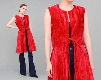 Vintage 70s Vest - Red Crushed Velvet Vest - Boho Hippie Vest - 1970s Long Vest Jacket Top - Medium M