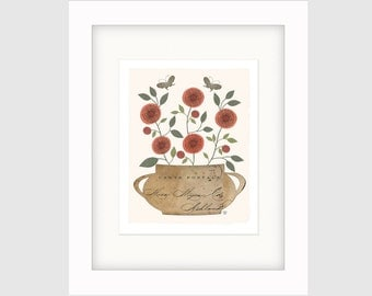 "Botanical Art Collage, Still Life Collage, Folk Art Botanical Collage, Botanical Art Print, ""Coral Flowers"""
