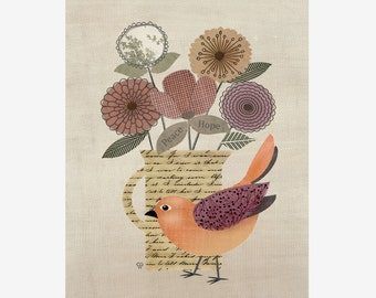 "Bird Art Collage, Botanical Art Print, ""Little Folk Bird No. 9"""
