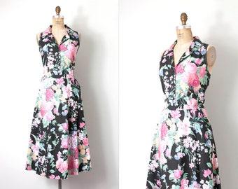 vintage 1980s does the 1950s dress  / black floral cotton 80s does the 50s dress  / large l