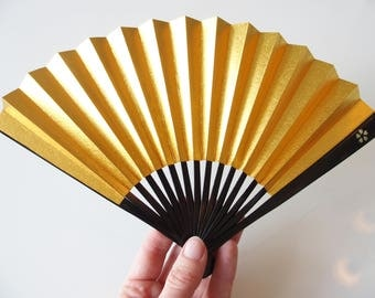 Sensu Hand Fan Gold Silver Japanese Fan