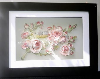 Love Birds nestled among Branches of Pink Miniature Roses, OOAK Sculpture in a Shadowbox Frame by CreatingCottage