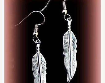 ON SALE NATIVE Pride Silver feather earrings, dangle earrings, tribal, Boho, Native, silver or gold feather earrings