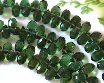 "4"" Strand - High Quality Green APATITE Faceted Drop Briolettes"