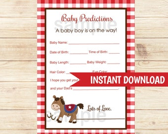 Western Horse Boy Baby shower Prediction Card Baby Shower Game Printable PDF INSTANT DOWNLOAD bs-105