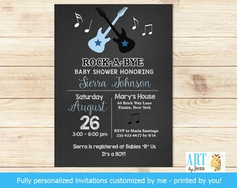 Rock a Bye Baby Guitar Rock Star Print Your Own Digital File JPG Baby Shower  or Printed Baby Shower Invitations bs-020