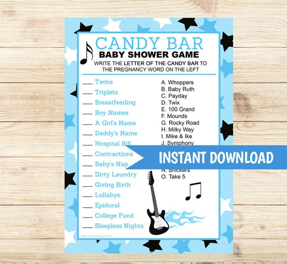 Candy Baby Shower Game: Blue Rock Star Candy Bar Matching Baby By ArtbyJessPrintables