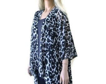 Leopard Kimono cardigan -Black and off white -Animal print kimono-oversize chiffon kimono- summer collection