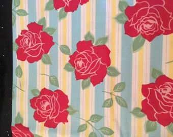 Urban Chiks Sweet Red Roses on blue   1  yard  oop hard to find