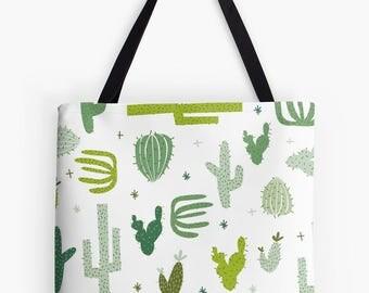 Cactus tote bag - cacti, succulent design - nappy bag, tote, handbag, carry bag, shopping bag